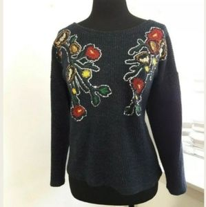 Zara  XXL Blue Red Pullover Knit Sweater Size XXL